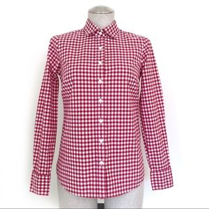 J. Crew Gingham Red Dress Shirt Size 00